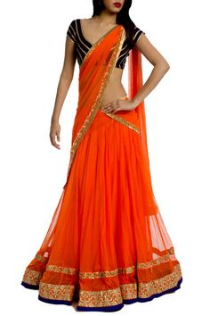 Be an angel and make a wonderful impact on everyone with this orange net lehenga choli. This lehenga is prettified with lace work. Comes with matching choli and dupatta. Bollywood Lehenga, Lehenga Choli Online, Indian Lehenga, Lehenga Saree, Bollywood Fashion, Anarkali, Ghagra Choli, Bollywood Style, Bridal Lehenga