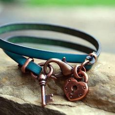 Heart Lock and Key Wrap Leather Bracelet in Copper or Silver Bandana Girl Jewelry