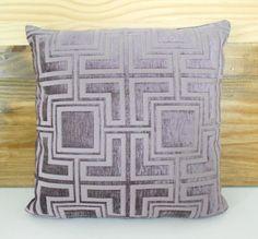Lilac purple geometric velvet decorative pillow by pillowflightpdx, $40.00