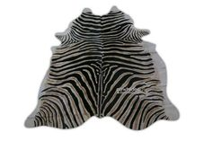 Zebra Print Cowhide Rug Size 7.7' X 6.5' ft by deluxecowhides