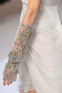Details :: Valentino Spring 2009 (Sheer fingerless gloves with embellishments) Vintage Accessoires, Wedding Gloves, Lesage, Fashion Details, Elie Saab, Marie, Fashion Accessories, Gloves Fashion, Bridal Accessories