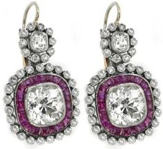 Art Deco Style 3.60ct Cushion Cut Diamond Ruby  Gold Platinum  Dangling Earrings. Amazing!!!