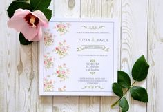 Vintage Roses printed wedding invitation