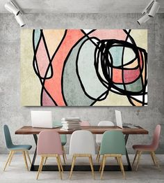 Vibrant Colorful Abstract-0-44. Mid-Century Modern Green Pink Canvas Art Print, Mid Century Modern Canvas Art Print up to 72 by Irena Orlov Wall Art Decor for Home, Office or Hotel MIDCENTURY ABSTRACT ART With retro colors and free formed geometric shapes, all of this pieces in my #retrohomedecor #abstractart
