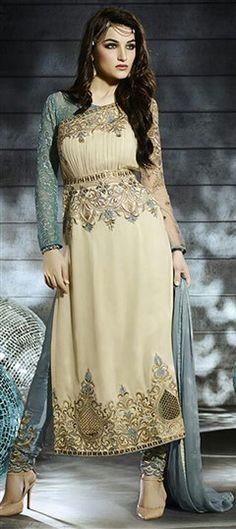 438103 Beige and Brown  color family Bollywood Salwar Kameez, Party Wear Salwar Kameez in Georgette fabric with Machine Embroidery, Stone work .
