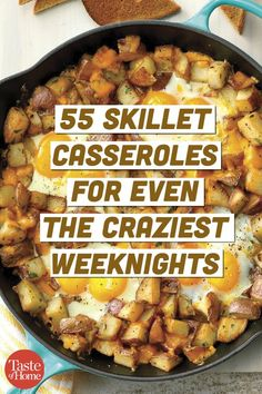 55 Skillet Casseroles for Even the Craziest Weeknights - - We've rounded up our speediest skillet casserole recipes—from super cheesy to veggie packed—that are sure to please your whole crew. Every single one of these dinners takes 30 minutes or less. Electric Skillet Recipes, Iron Skillet Recipes, Cast Iron Recipes, One Skillet Recipe, Cast Iron Skillet Cooking, Easy Skillet Meals, Easy Meals, Easy Skillet Dinner, Skillet Bread