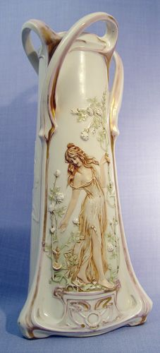 Amphora Art Nouveau Vase with Raised Image of a Maiden, circa early 20th century