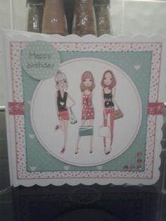 Girls birthday card using free papers from Making Cards magazine.