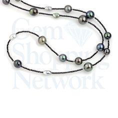 Cultured Tahitian Pearl Mixed 12 - 5 mm & 21.00 ctw Black Spinel Sterling Silver Necklace With Keshi Pearls Length 36 inches.