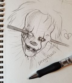 thank u to give Pennywise a bit of heart💔 he needed it. And of course this art is beautiful😍, I'm drawing badly than you😂. Have a nice day❤ Scary Drawings, Halloween Drawings, Dark Art Drawings, Pencil Art Drawings, Drawing Sketches, Arte Horror, Horror Art, Croquis Disney, Horror Drawing