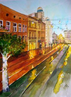 """Rain in the Street 1 "". Watercolor by Gabriela Calinoiu.  www.picturipeisaje.wordpress.com"