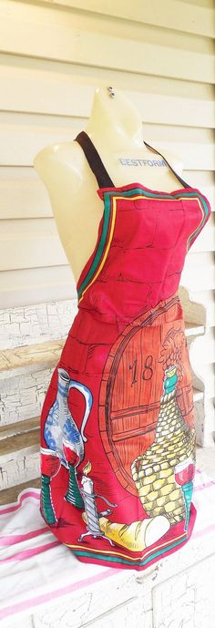 Beatrix Full Apron, Red and Wine Themed Apron from Munich Germany, Vintage New with Tag, Hand Painted Apron from Munich