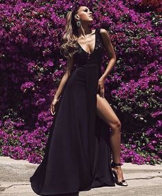 Black long dress. Split leg decorative top