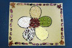 Seed Mosaic | Kids' Crafts | Fun Craft Ideas | FirstPalette.com Seed Crafts For Kids, Dyi Crafts, Craft Stick Crafts, Toddler Crafts, Craft Ideas, Mosaics For Kids, How To Make Beans, Aboriginal Dot Art, Seed Art
