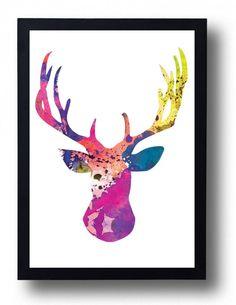 Deer Watercolor Print Stag watercolor Moose painting Christmas decor girf baby girl nursery deer wall art moose poster winter art