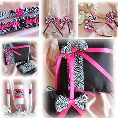 Zebra Wedding Hot Pink And Black flower girl basket, ring pillow, guest book, garters, candle, flutes, cake set, 13pc Set