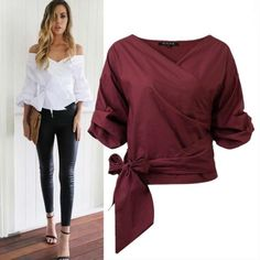 Короткая блуза на запах с поясом