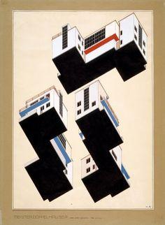 Alfred Arndt  Farbplan für die Außengestaltung der Meisterdoppelhäuser in Dessau, 1926