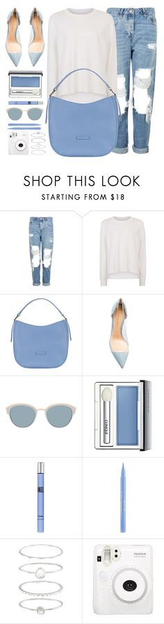 """Reputation"" by mezzanotteofficial ❤ liked on Polyvore featuring Topshop, Sweaty Betty, Gianvito Rossi, Christian Dior, Clinique, Thierry Mugler, Stila, Accessorize, white and Blue"