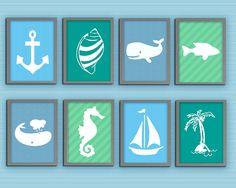 Sea Printable Set. Ocean Gallery. Set of 8, Nursery room, baby boy, Birthday Gift, Sea world Artwork
