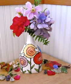 Pottery Vase - Painted Flowers and Birds - The Earth Laughs In Flowers Quote Ceramics - EARTH'S MIRTH