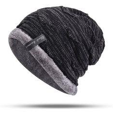 74295f94cc3 Mens Plus Velvet Knitted Stripe Beanie Hats Outdoor Winter Warm Skullcap  Beanies