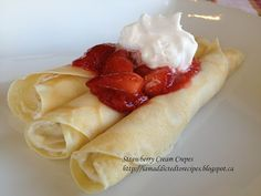 Addicted to Recipes: Strawberry Cream Crepes Sweet Recipes, Cake Recipes, Yummy Recipes, Recipies, Dessert Recipes, Breakfast Time, Breakfast Recipes, Delicious Desserts, Yummy Food