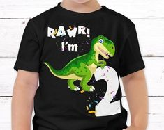 Dinosaur T-Shirt for Toddlers. Great 2-year old birthday shirt by KidsPartyWorks on Etsy Kids Birthday Gifts, Dinosaur Birthday Party, Birthday Shirts, Boy Outfits, Party Outfits, Dinosaur Shirt, Christmas Gifts For Kids, Party Printables, Toddlers