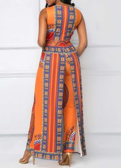 Orange Overlay Embellished Dashiki Print V Neck Jumpsuit on sale only US$41.53 now, buy cheap Orange Overlay Embellished Dashiki Print V Neck Jumpsuit at liligal.com