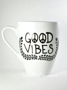 Hand Painted Good Vibes Mug coffee mug tea mug by TulaczFineArts The perfect mug to give this holiday season! Spread good vibes :) #christmas #gift #boho