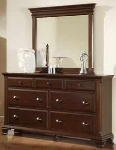 Brinley Cherry Dresser & Mirror Set - Picket House Furnishings Brinley Cherry Dresser & Mirror Set features sensuous curves and sleek lines. This seven-drawer triple dresser is the ideal addition to your master bedroom. Cherry Wood Dresser, Cherry Wood Furniture, Brown Dresser, 7 Drawer Dresser, Mirrored Furniture, Dresser With Mirror, Diy Dressers, Mirror Set, Beveled Mirror