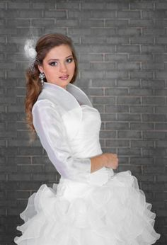 Wedding Bridal Ivory White Organza Bolero Shrug Jacket S M L XL XXL XXXL B55 O | eBay
