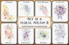 Watercolor sprays II: set of 8 by Lolly's Lane Shoppe on Pink Watercolor, Watercolor Cards, Pink Color Schemes, Wedding Clip, All Paper, One Design, Graphic Illustration, Illustrations, Design Bundles
