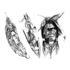 Three nice Indian tattoo designs of a feather, chief and arrowhead.