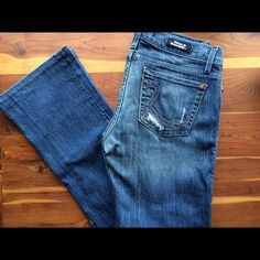 """Rock and Republic Distressed Jeans These distressed jeans by Rock and Republic will easily become your favorite pair you own. The perfect jeans. Bootcut. Inseam 31"""". Size 29. Excellent condition. (These jeans have been hemmed. Authentic R and R jeans are usually at least 34"""" Inseam. ) Rock & Republic Jeans Boot Cut"""