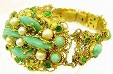 Superb Vintage Czech Bohemian gilt filigree Peking glass and crystal bracelet