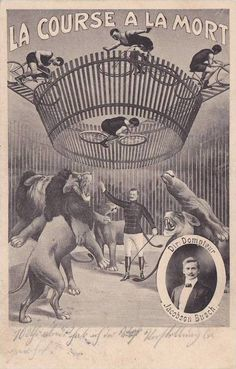 "Circus Death Cage bicycle act with Lions , ""LA COURSE A LA - bidStart (item 33959986 in Postcards... Circus)"