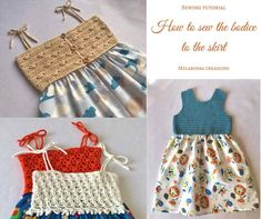 How to sew a crochet bodice to a fabric skirt- sewing tutorial – Melarossa creazioni Sewing Patterns Free, Baby Patterns, Knit Patterns, Sewing Tutorials, Free Pattern, Crochet Girls, Crochet For Kids, Crochet Baby, Crochet Fabric