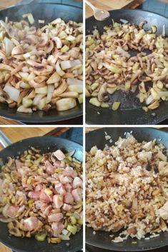 arroz con pollo, champiñones y calabacín