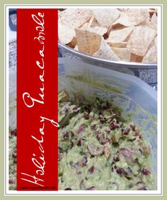 Holiday Guacamole - the PERFECT potluck dish for parties and get together's.  Don't plan on bringing any home!!