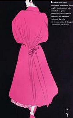 Fashion illustration by René Gruau, March 1953, Dress by Dior, L'Officiel, Paris.