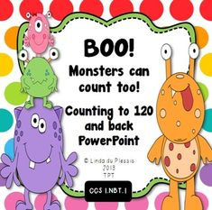 Counting to 120 and back PowerPoint {Monsters Theme}. Monsters help you count to 120 and back! This is a fantastic counting tool. You can click through it or let the PPT run automatically while your students count. Creative Teaching, Teaching Tools, Teaching Math, Math Math, Monster Theme Classroom, Classroom Themes, Math Resources, Math Activities, Counting To 120