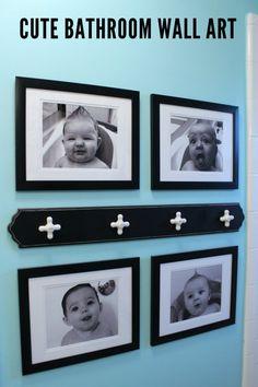 photos of the kids in the bath as bathroom wall art - http://lilluna.com/bathroom-makeover/