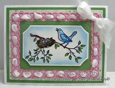 Beautiful spring card created by Joy Hadden.  Loving the border with the woven ribbon! Rubber stamp by Repeat Impressions. - http://www.repeatimpressions.com - #repeatimpressions #rubberstamps #cardmaking