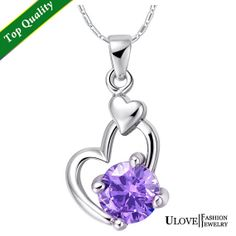 Heart Necklaces Cheap Amethyst Gemstone by UloveFashionJewelry, $8.18
