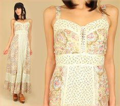ViNtAgE Rose Floral Maxi Dress Calico Lace SWEETHEART Corset Hippie Boho 1970s S/M
