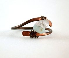 Quartz Crystal Ring Hammered Copper Ring Wire by RuthAndJack