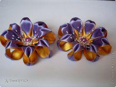Украшение Цумами Канзаши Резиночки - цветочки Ленты фото 1