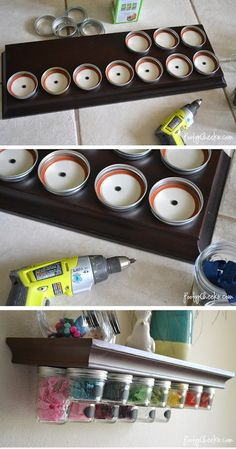 Mason Jar Storage Shelf Tutorial by Poofy Cheeks ... these remind me of the baby food jar shelves that my grandpa used to have in the garage. He kept screws and nails in them.