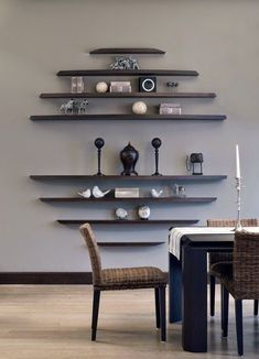 5 Simple and Modern Ideas Can Change Your Life: Floating Shelves Entertainment Center Home Office rustic floating shelves how to build.How To Hang Floating Shelves Kitchen Cabinets floating shelf decor invisible bookshelf. Small Living Room Design, Small Living Rooms, Home Living Room, Living Room Designs, Living Room Decor, Small Dining, Shelving In Living Room, Living Spaces, Living Area